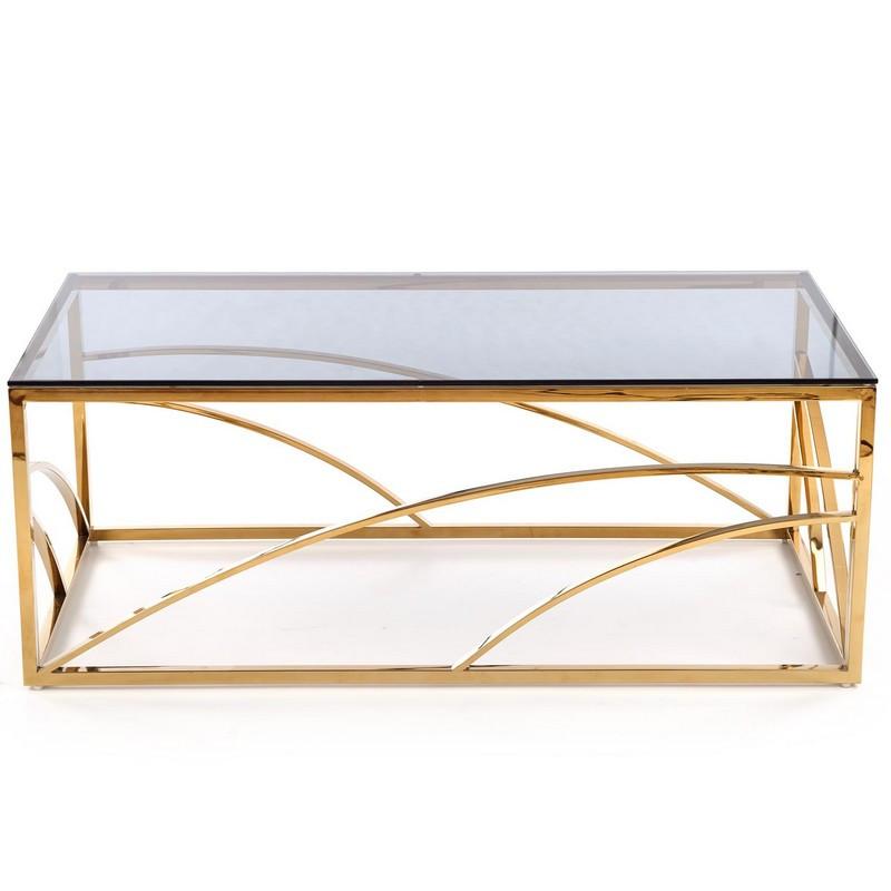 table basse 60x120cm avec structure en acier dore et plateau en verre fume sochic