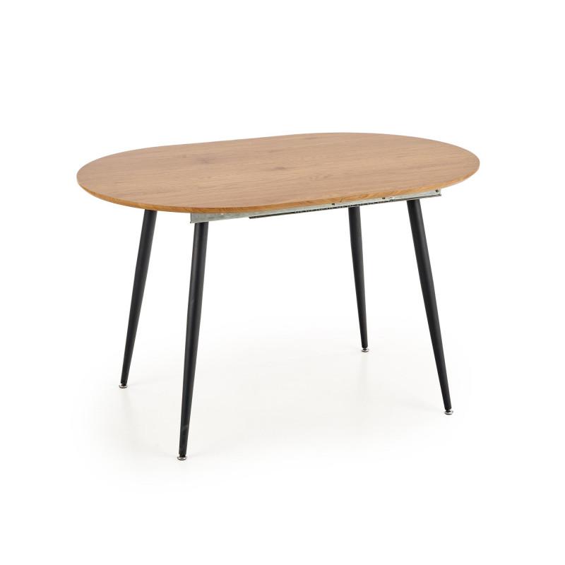 table a manger extensible 120 160cm ovale avec plateau aspect chene et pieds en acier noir atlanta
