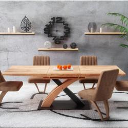 table de salle a manger design avec rallonge integree aspect chene dore et acier noir millenium