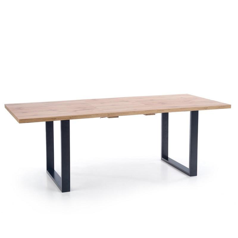 table de salle a manger extensible 135 185 cm avec plateau aspect chene wotan et pieds metal noir venice