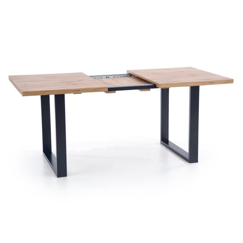 table a manger industrielle extensible 160 210cm avec plateau aspect chene et structure en metal noir venice