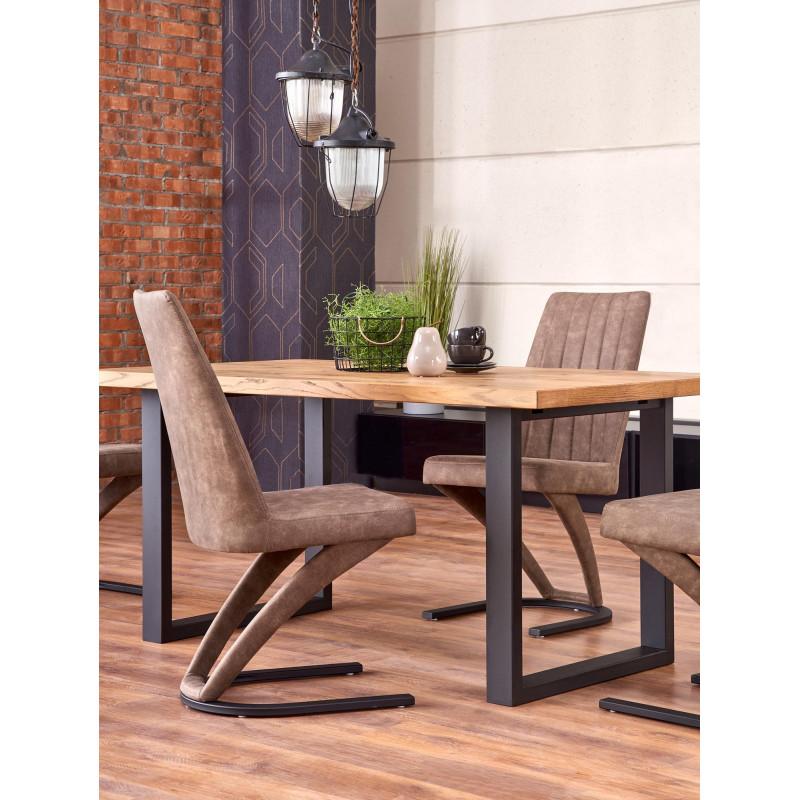 table a manger extensible 160 250cm avec plateau aspect chene clair et pieds metal noir melly