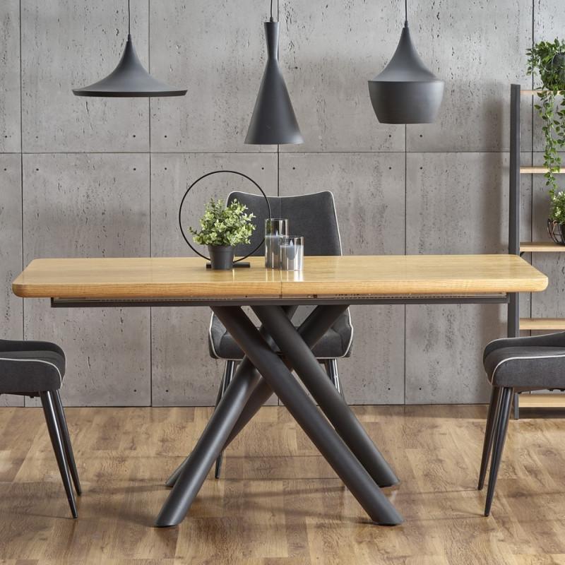 table de salle a manger avec pied central design en acier noir et plateau aspect chene montevideo