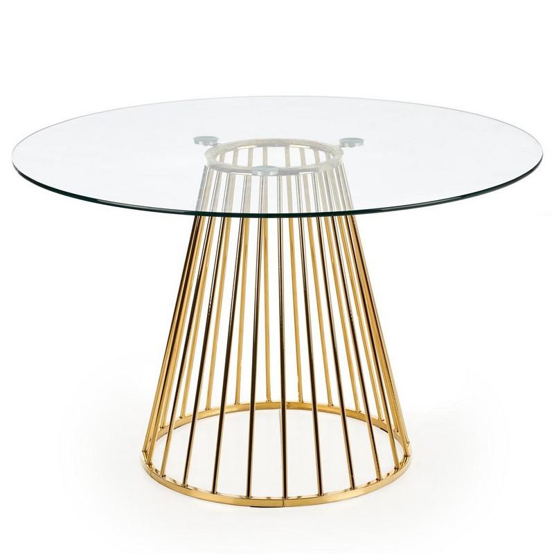 table de salle a manger ronde avec plateau en verre et pied central en acier dore cambridge
