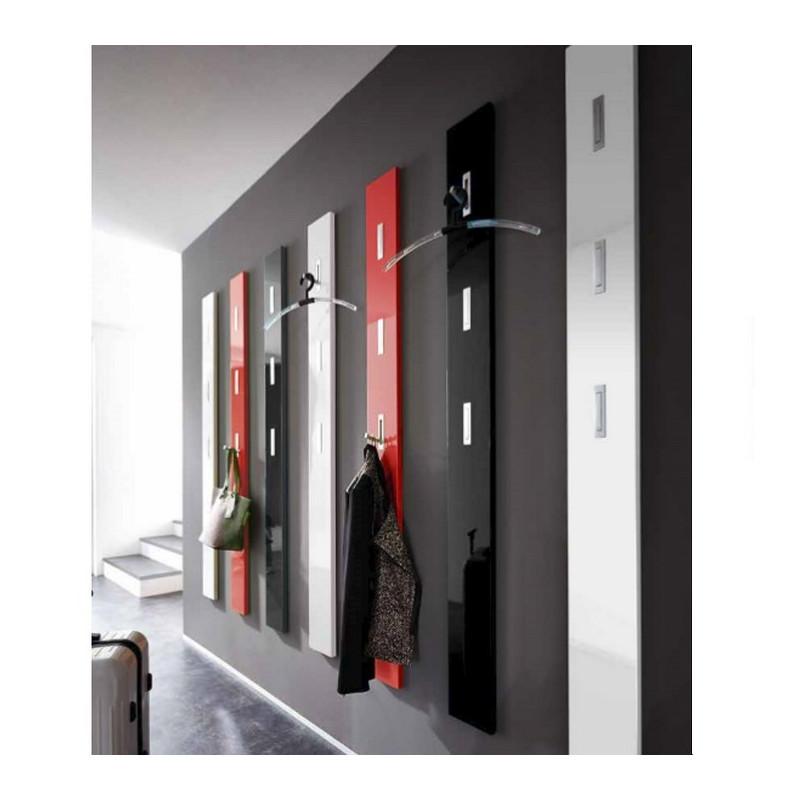 Porte manteau mural laque design rouge noir blanc Alti