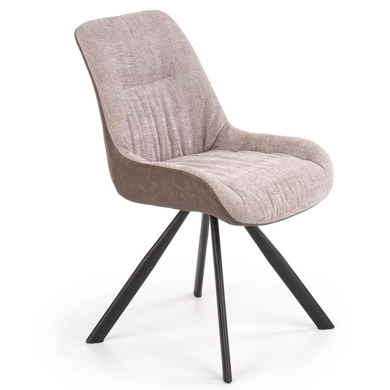 chaise de salle a manger en eco cuir et tissu gris clair et marron fonce avec pieds en acier chambord