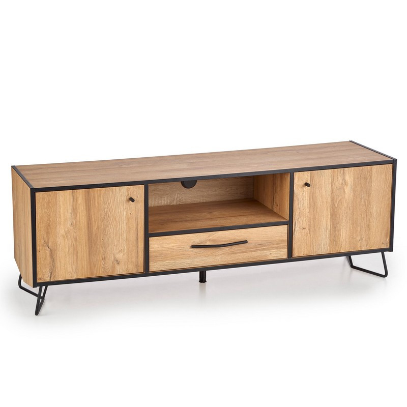 meuble tv aspect chene 2 portes et un tiroir avec pieds en acier noir magic