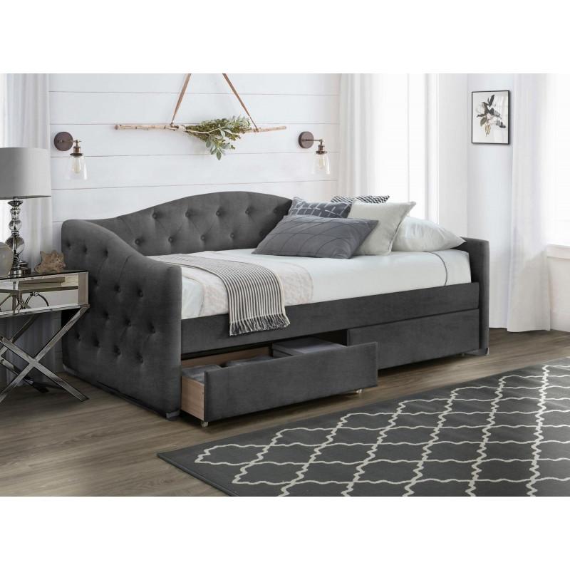 lit 90 x 200 en velours gris capitonne avec tiroirs de rangement corfu