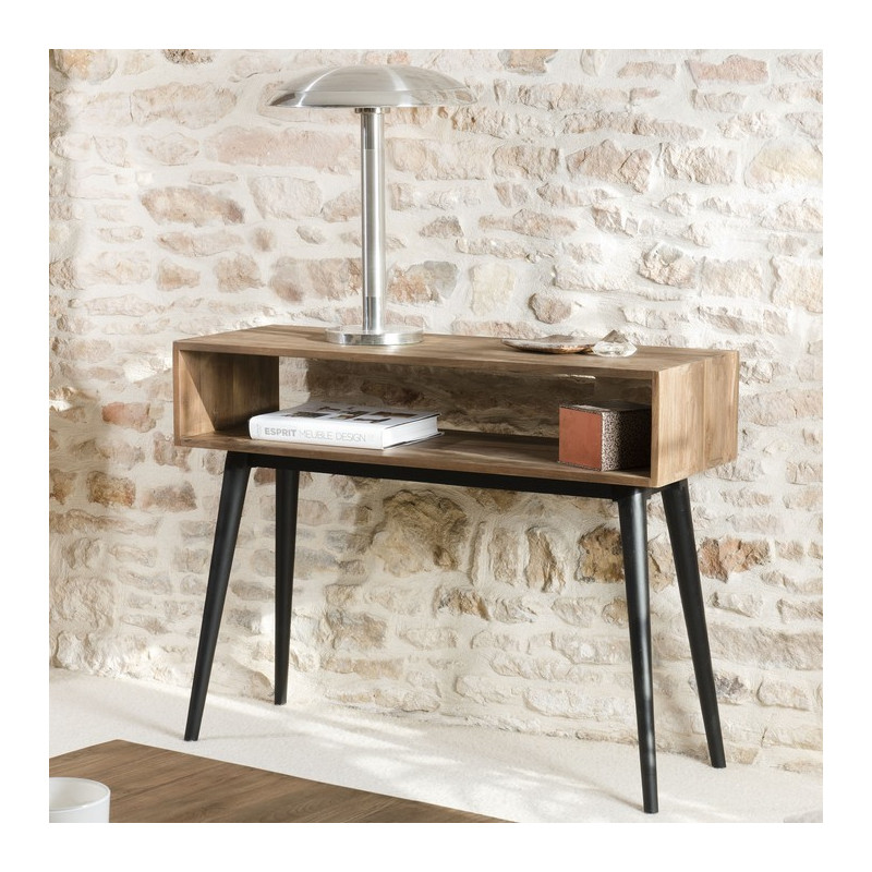 Console Bois Teck Pieds Mtal 100x78cm Tinesixe So Inside