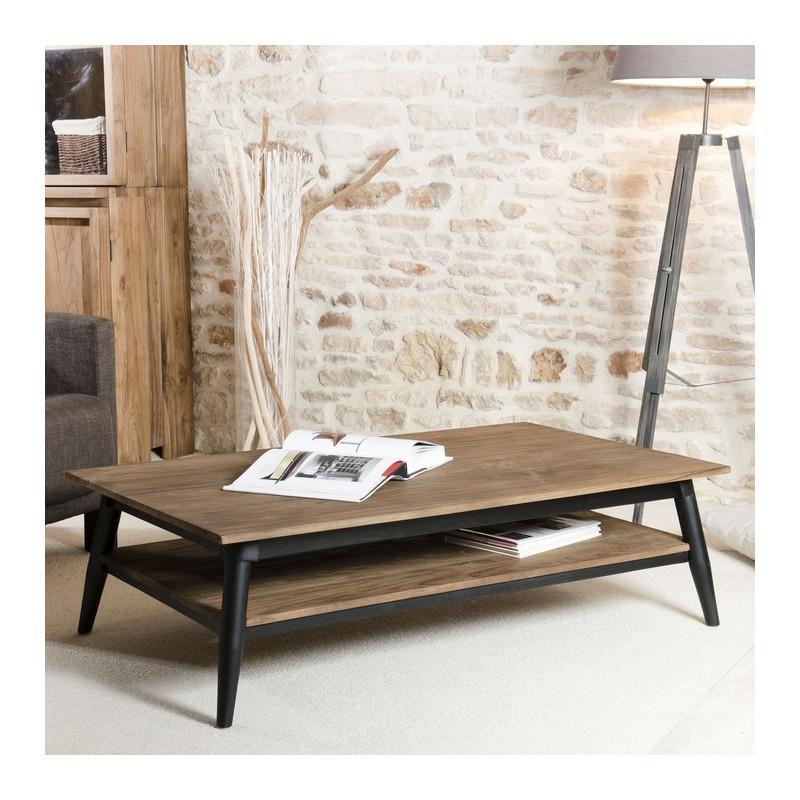 Table Basse Bois Teck Pieds Mtal 120x70cm TINESIXE