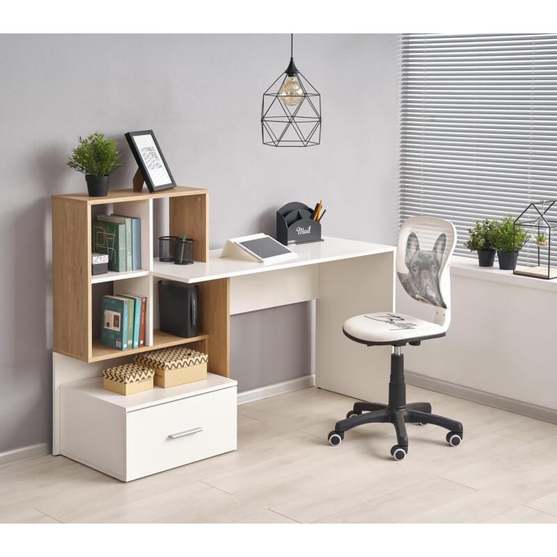 bureau blanc et aspect chene avec grand tiroir et etageres stand