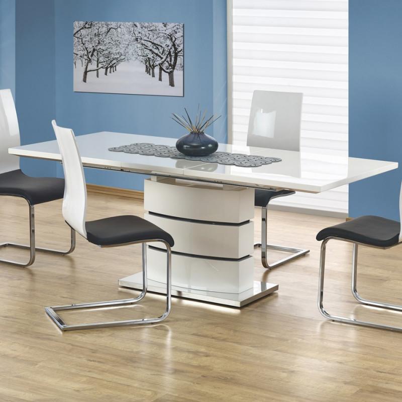table extensible blanc laque 160 200x90cm elena