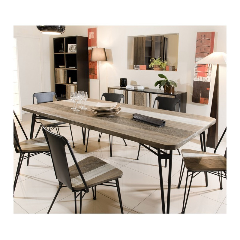 table a manger bois massif et metal 200x100cm alice