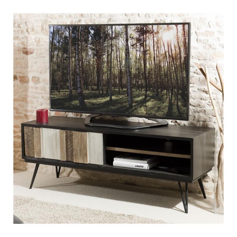 Meuble TV industriel en bois massif et mtal noir pour une belle dco