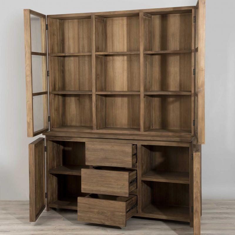 vitrine vaisselier 4 portes 3 tiroirs bois massif tinesixe