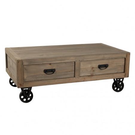 table basse industrielle sur roulette avec tiroirs orianne