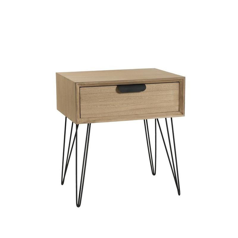 table d appoint vintage metal et bois 1 tiroir murgo
