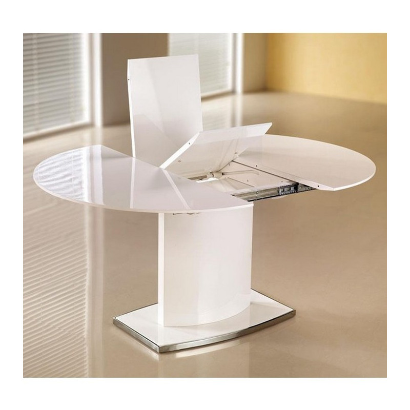Table Manger Ovale Extensible Blanc Laqu Rico