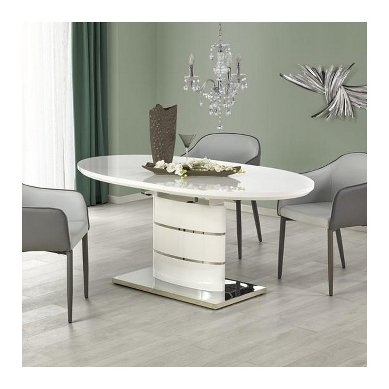 table salle a manger ovale blanche laquee avec rallonge ipson