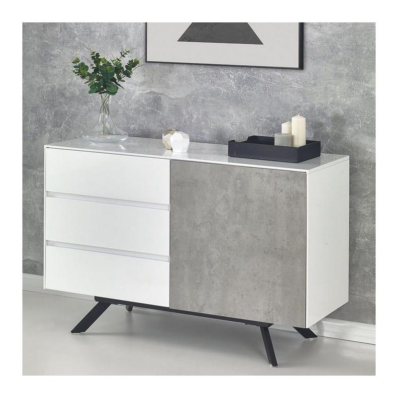 bahut beton et blanc brillant 1 porte 3 tiroirs astani