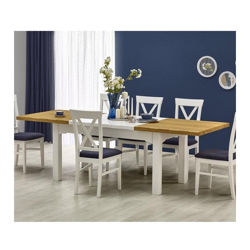 Table a manger blanche et bois extensible 160250cm Donna  So Inside