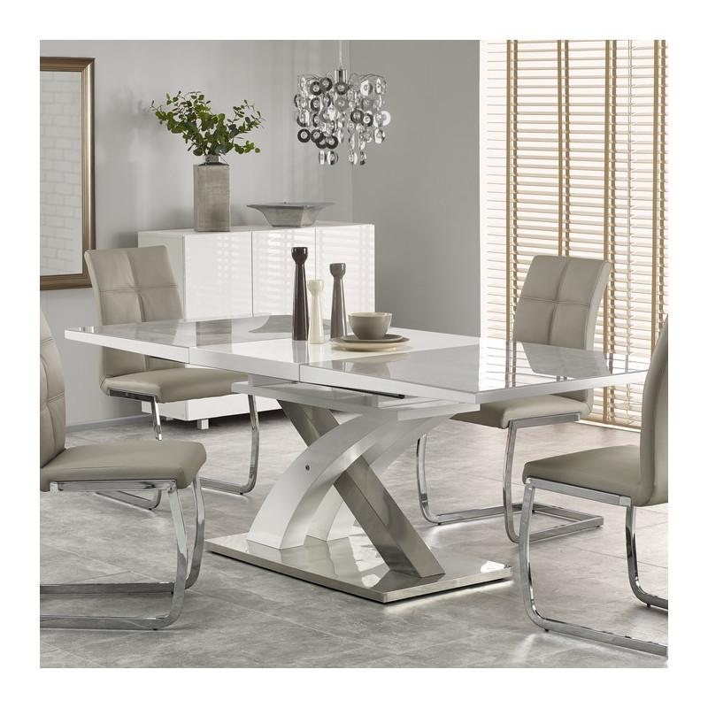 table a manger extensible blanche et grise design flora