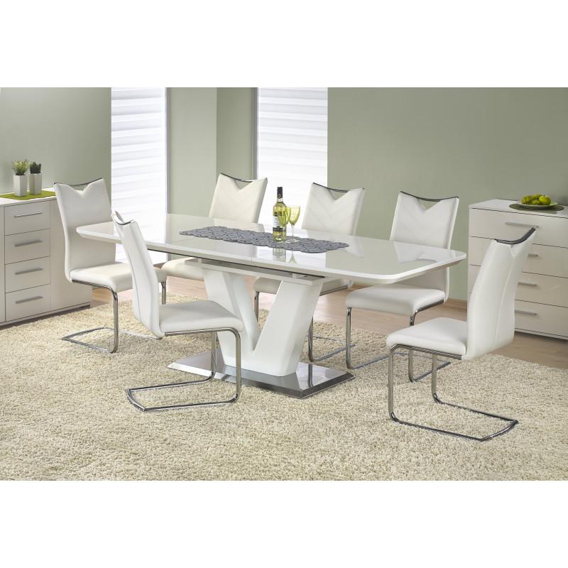 table a manger blanc laque pied en v clari