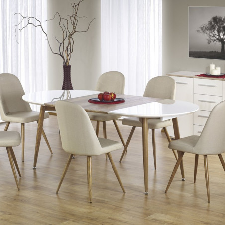 table a manger ovale extensible bois et blanc laque miya