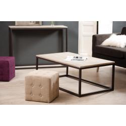 table basse industrielle metal et bois 115x65cm malone
