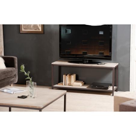 meuble tv design industriel couleur bois malone