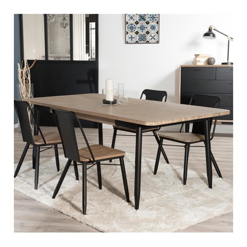 table a manger industriel noir et bois olana