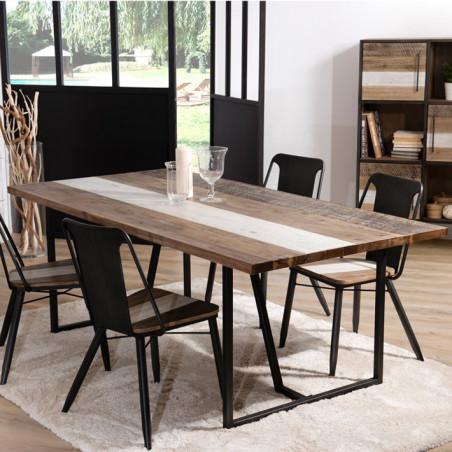 table a manger design bois bicolore et metal noir leon