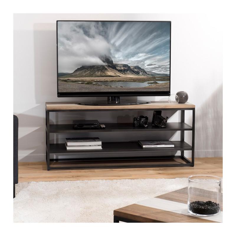 meuble tv design industriel bois et metal leon