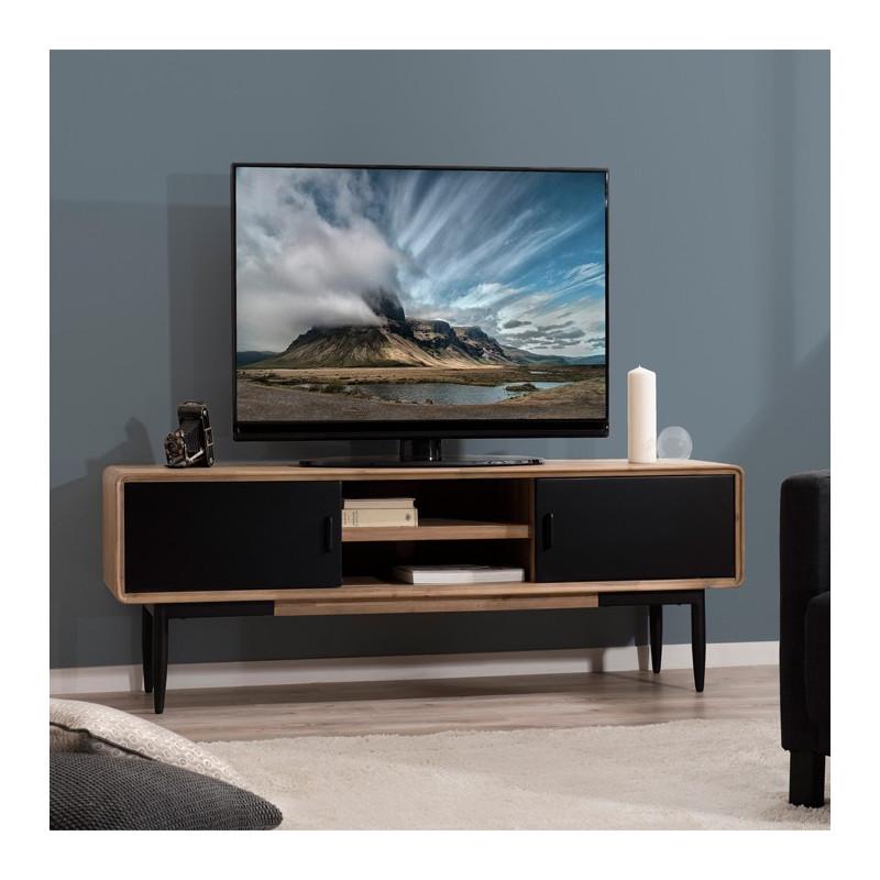 Meuble TV industriel noir et bois Olana  So Inside