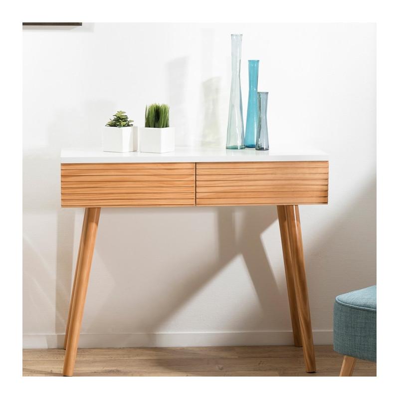console design scandinave bois et blanc ella