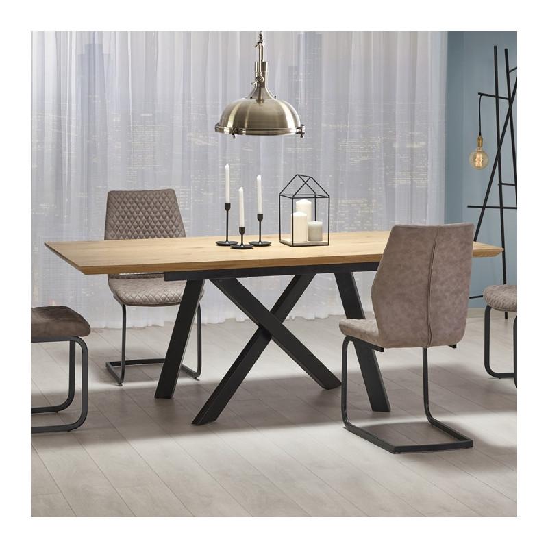 table industrielle bois et metal vegas