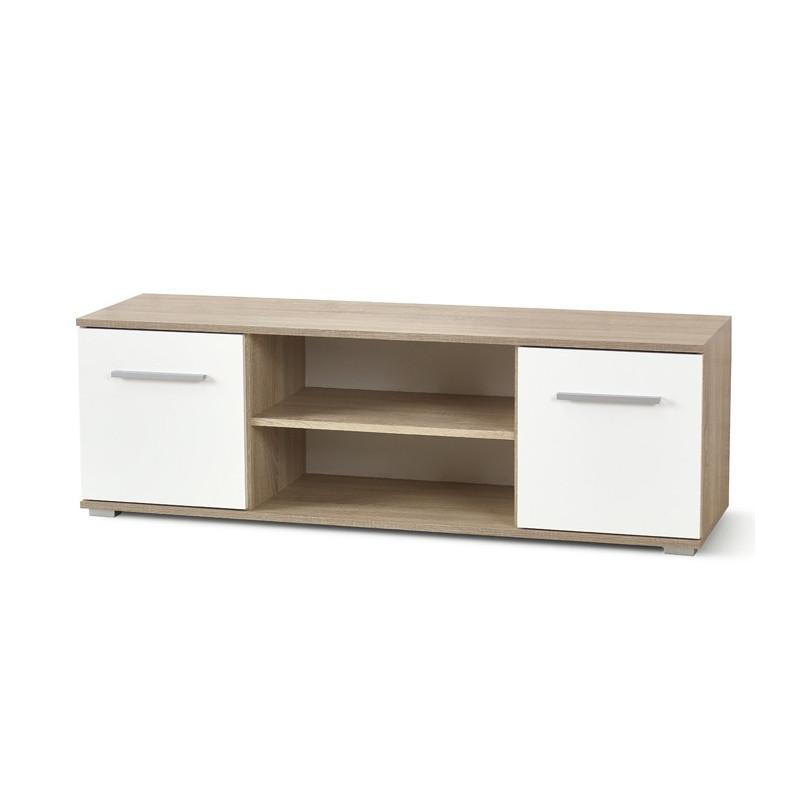 meuble tv scandinave blanc et bois persephone