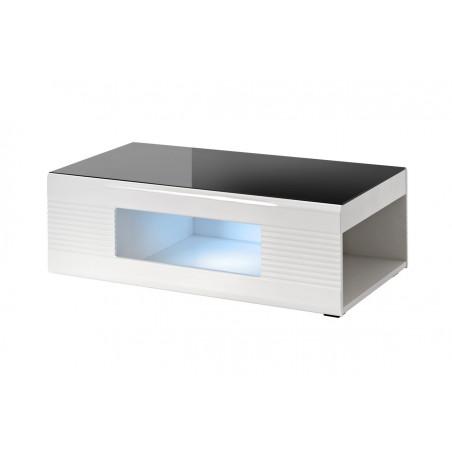 table basse avec rangement noir et blanc brillant clark