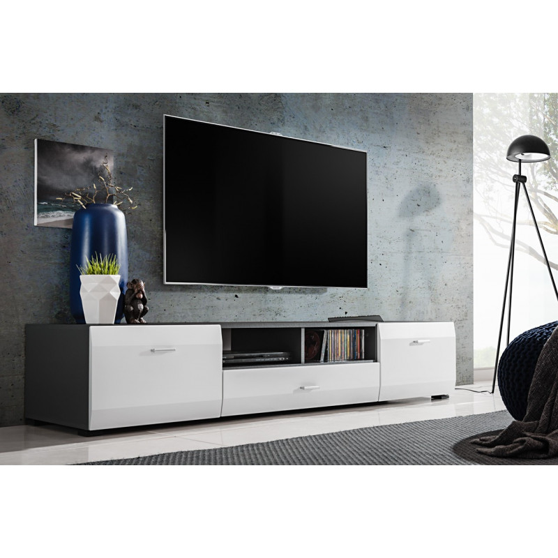 meuble tv blanc et gris mat zao