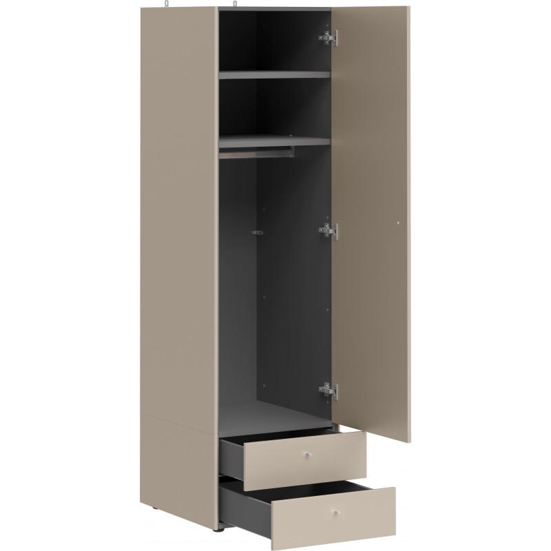 armoire 1 porte 2 tiroirs gris pierre heavy