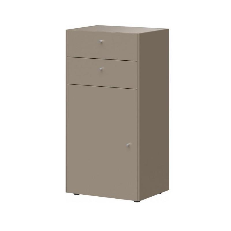 commode 1 porte 2 tiroirs gris pierre heavy