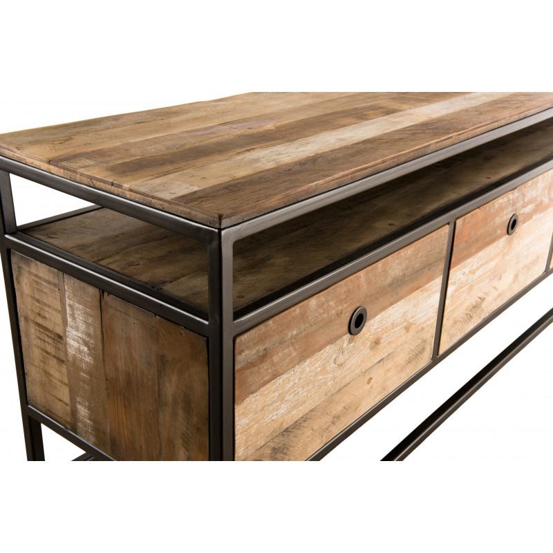meuble tv style industriel 3 tiroirs 150x40 tinesixe