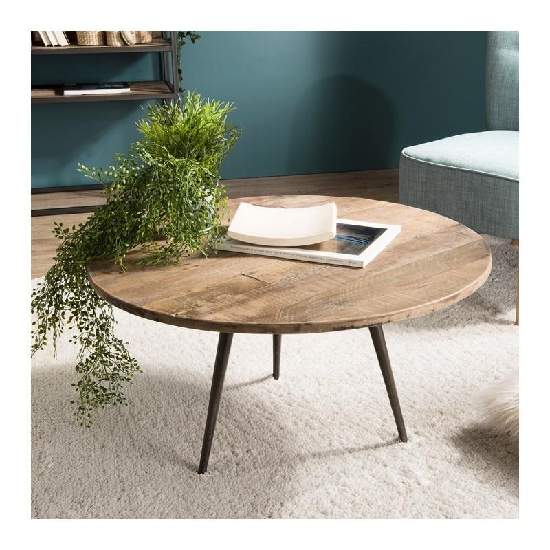 table basse ronde industrielle teck et metal 75cm tinesixe