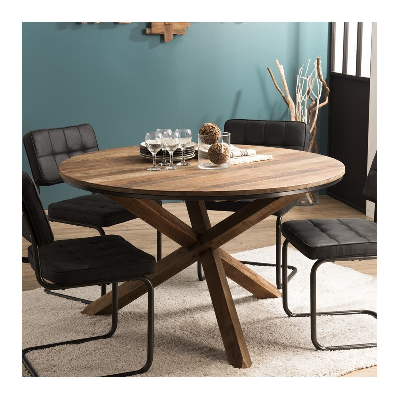 table a manger ronde industrielle 130cm tinesixe