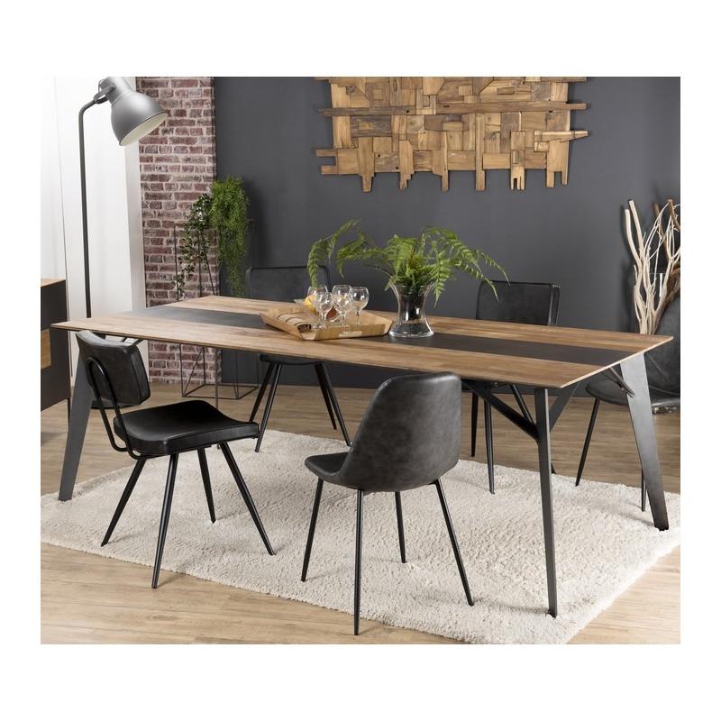 table a manger design industriel teck recycle et metal 220x100cm nolwen