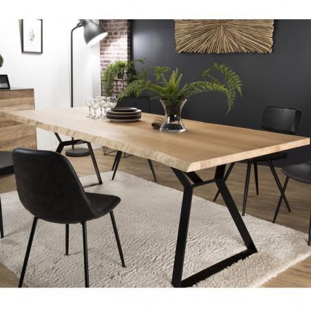 table a manger industrielle plateau chene et pieds metal 230x100cm nolwen