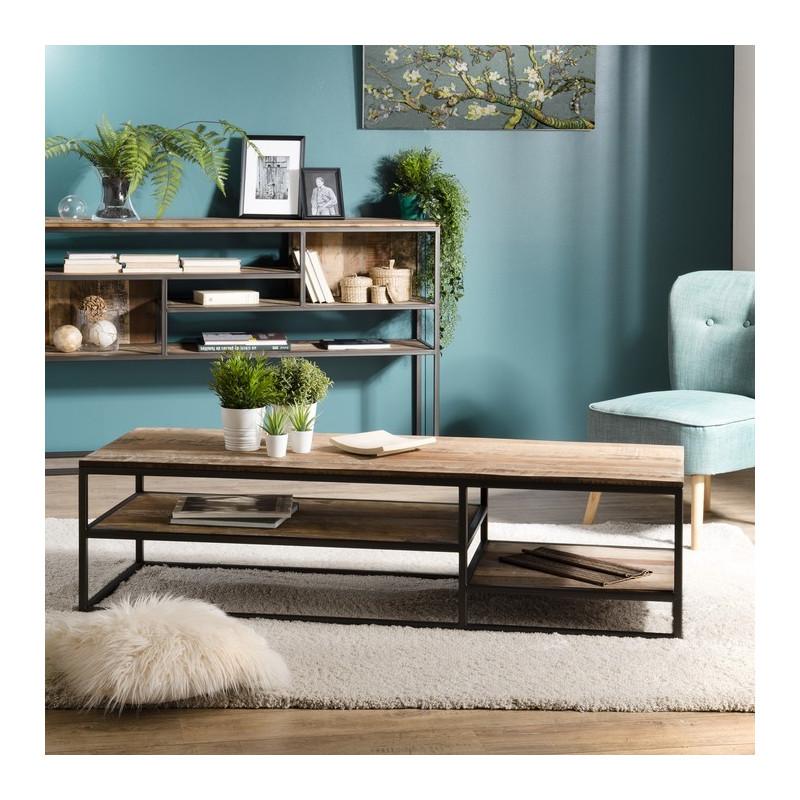 table basse rectangulaire design industriel 150x50cm tinesixe