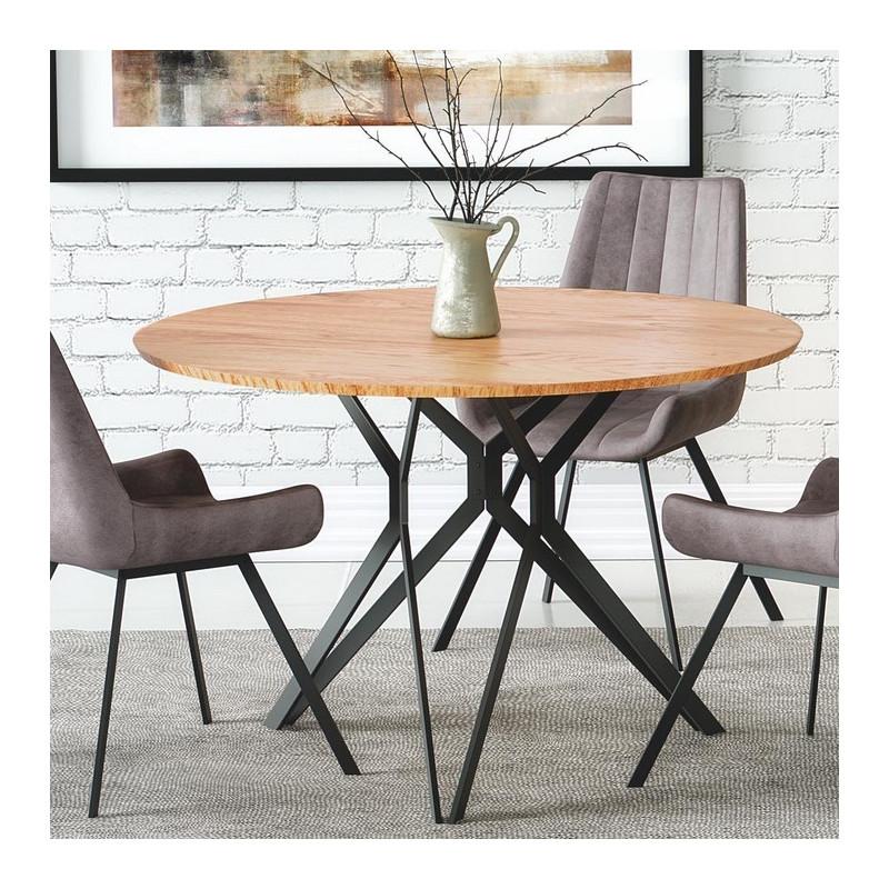 table a manger ronde 120 cm aspect chene dore et pied acier noir unity