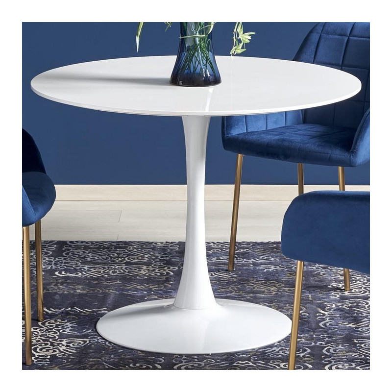 table ronde diametre 100 cm blanc laque cotoon