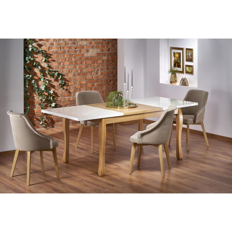 table rectangulaire extensible plateau blanc et pieds design bois massif sweden